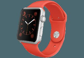 APPLE Watch 42 mm Aluminiumgehäuse mit Sportarmband (MLC42FD/A) Orange/Silber (Smart Watch)